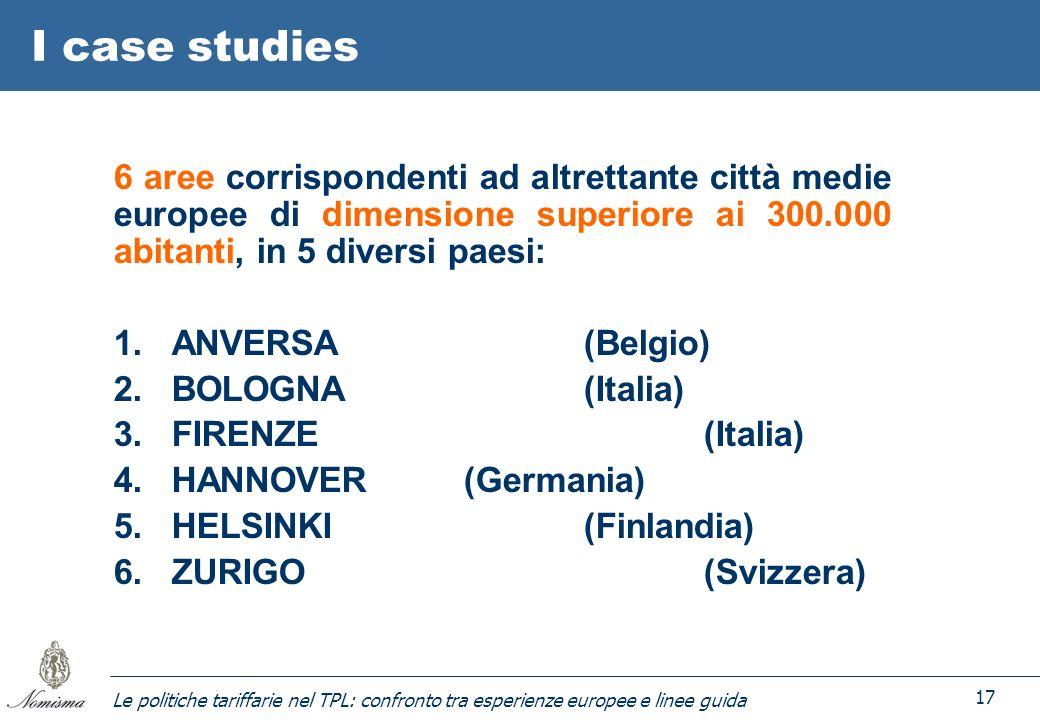 Le politiche tariffarie nel TPL: confronto tra esperienze europee e linee guida 17 I case studies 6 aree corrispondenti ad altrettante città medie europee di dimensione superiore ai 300.000 abitanti, in 5 diversi paesi: 1.