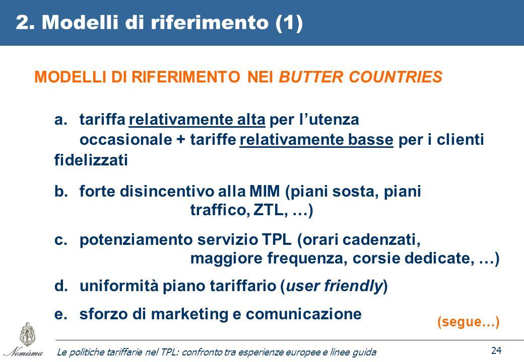 Le politiche tariffarie nel TPL: confronto tra esperienze europee e linee guida 24 2. Modelli di riferimento (1) MODELLI DI RIFERIMENTO NEI BUTTER COU