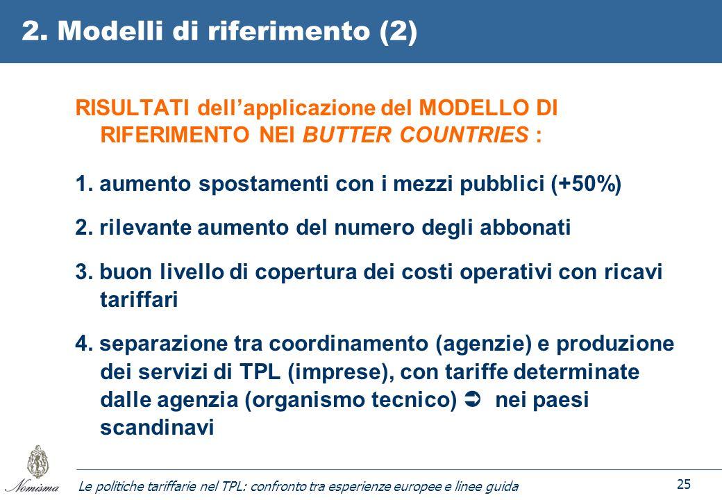 Le politiche tariffarie nel TPL: confronto tra esperienze europee e linee guida 25 2. Modelli di riferimento (2) RISULTATI dellapplicazione del MODELL