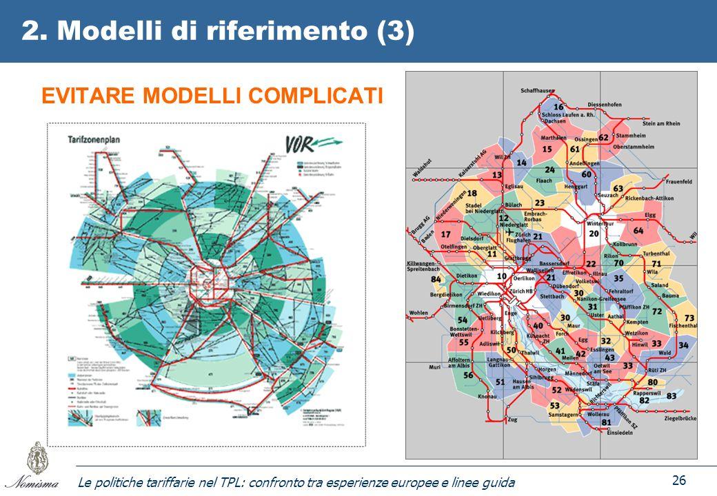 Le politiche tariffarie nel TPL: confronto tra esperienze europee e linee guida 26 2. Modelli di riferimento (3) EVITARE MODELLI COMPLICATI