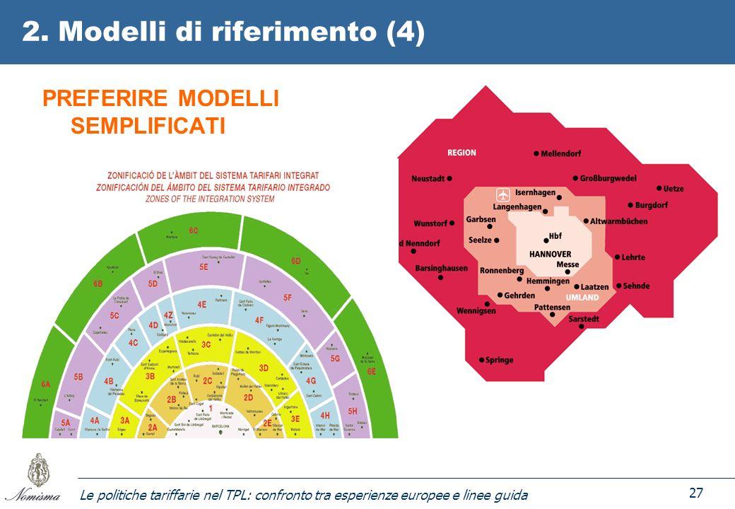 Le politiche tariffarie nel TPL: confronto tra esperienze europee e linee guida 27 2. Modelli di riferimento (4) PREFERIRE MODELLI SEMPLIFICATI