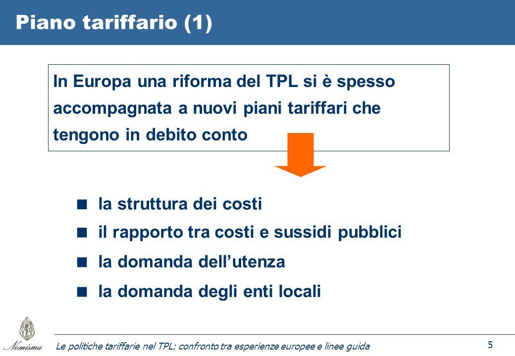 Le politiche tariffarie nel TPL: confronto tra esperienze europee e linee guida 5 Piano tariffario (1) In Europa una riforma del TPL si è spesso accom