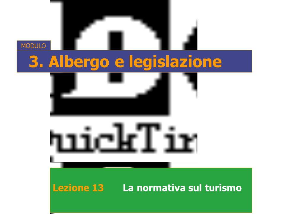 Lezione 13La normativa sul turismo MODULO 3. Albergo e legislazione