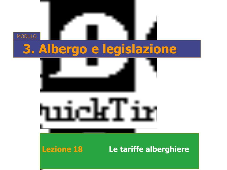 Lezione 18Le tariffe alberghiere MODULO 3. Albergo e legislazione