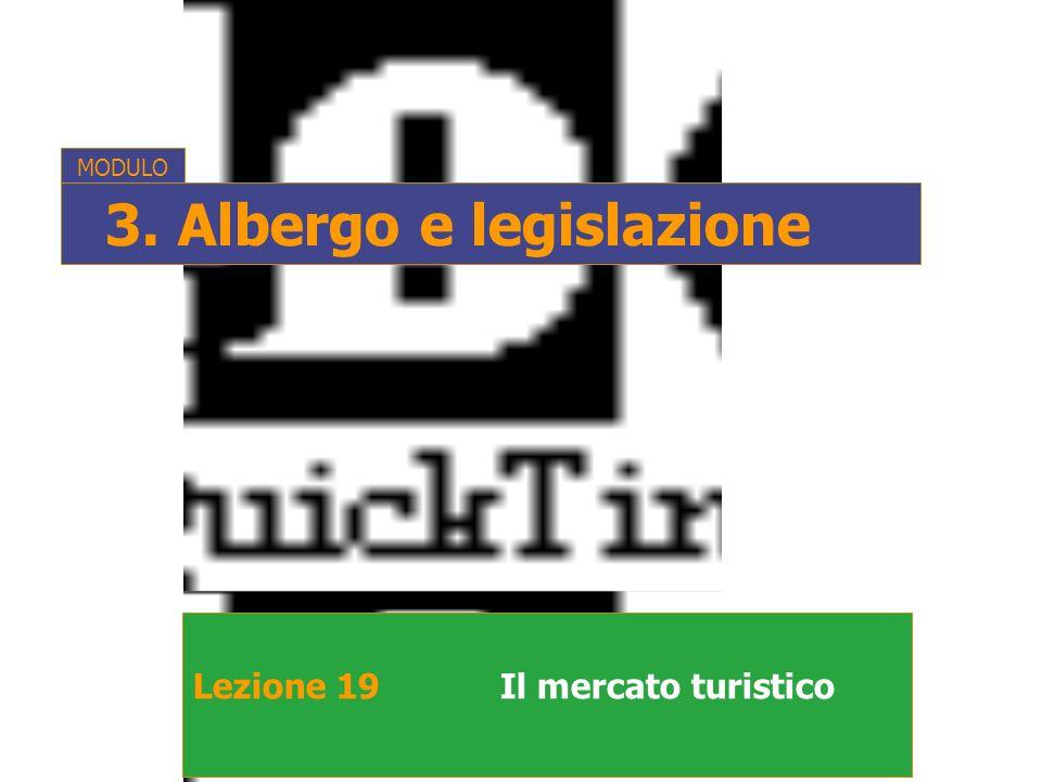 Lezione 19Il mercato turistico MODULO 3. Albergo e legislazione