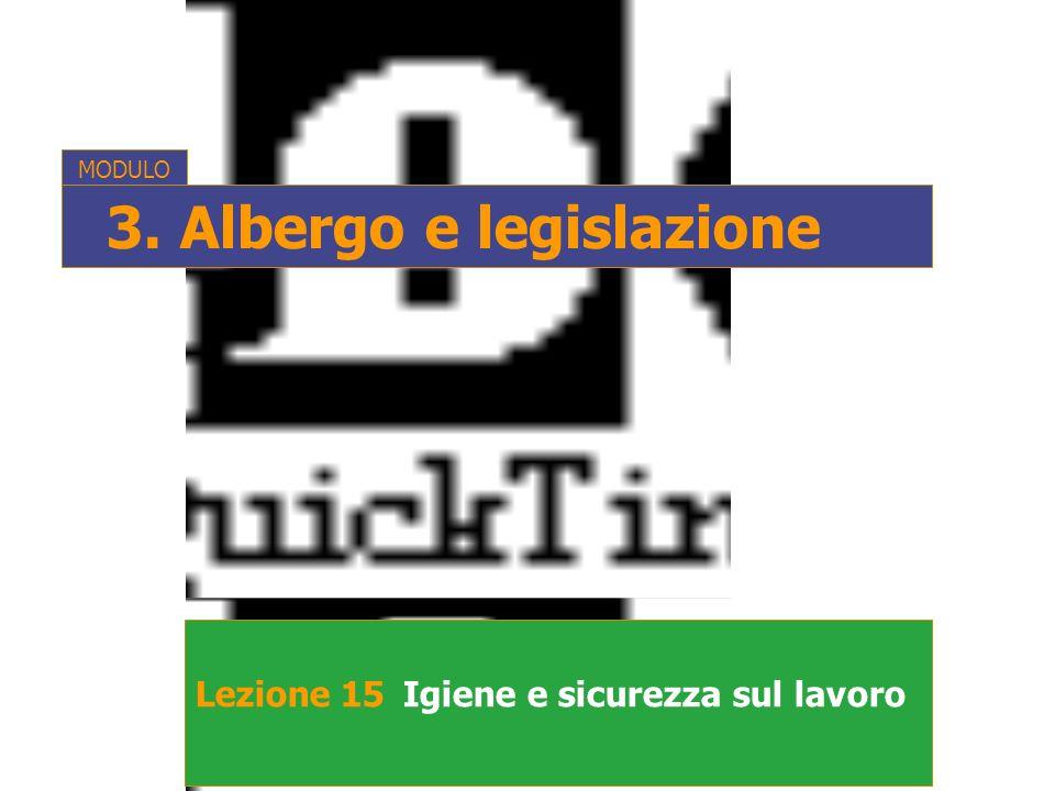 Lezione 15Igiene e sicurezza sul lavoro MODULO 3. Albergo e legislazione