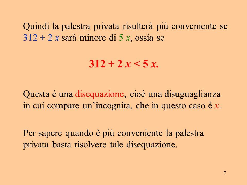 18 Proprietà: quando m > 0se f ( x ) > g ( x ) allora m · f ( x ) > m · g ( x ) quando m < 0se f ( x ) > g ( x ) allora m · f ( x ) < m · g ( x )