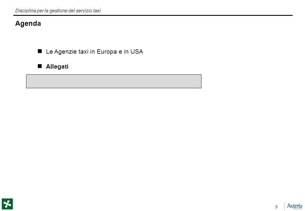 Disciplina per la gestione del servizio taxi 9 Agenda Le Agenzie taxi in Europa e in USA Allegati
