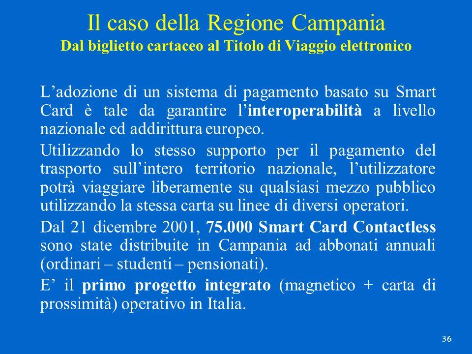 36 Dal biglietto cartaceo al Titolo di Viaggio elettronico Ladozione di un sistema di pagamento basato su Smart Card è tale da garantire linteroperabi
