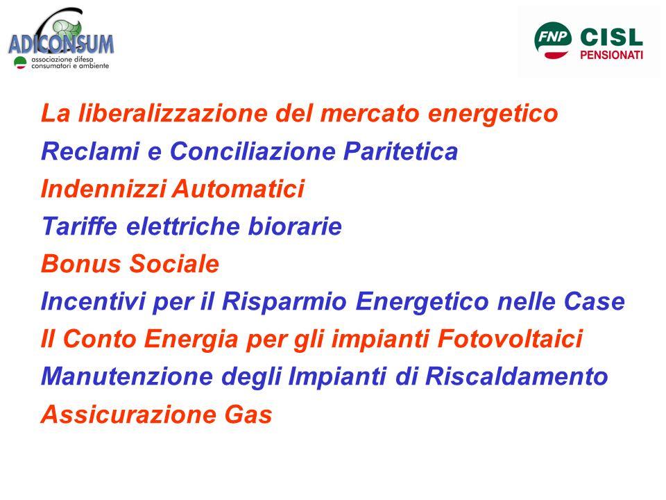 La liberalizzazione del mercato energetico Reclami e Conciliazione Paritetica Indennizzi Automatici Tariffe elettriche biorarie Bonus Sociale Incentiv