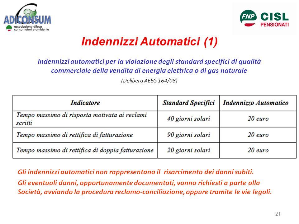Indennizzi Automatici (1) Indennizzi automatici per la violazione degli standard specifici di qualità commerciale della vendita di energia elettrica o