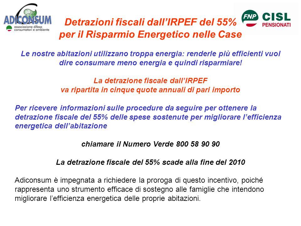 Detrazioni fiscali dallIRPEF del 55% per il Risparmio Energetico nelle Case Le nostre abitazioni utilizzano troppa energia: renderle più efficienti vu