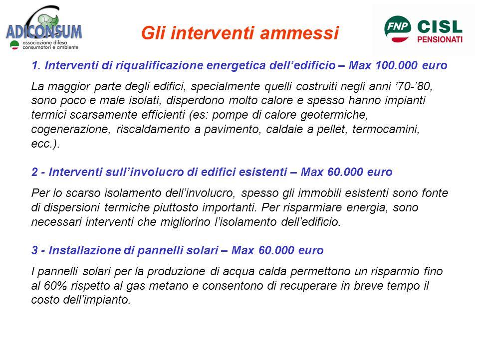 Gli interventi ammessi 1. Interventi di riqualificazione energetica delledificio – Max 100.000 euro La maggior parte degli edifici, specialmente quell