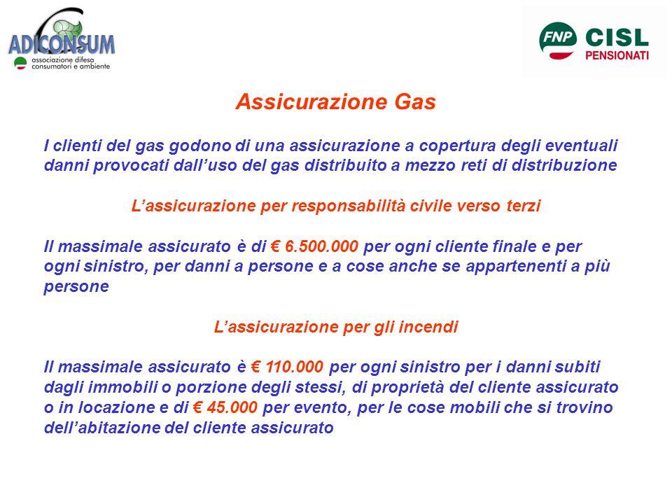 Assicurazione Gas I clienti del gas godono di una assicurazione a copertura degli eventuali danni provocati dalluso del gas distribuito a mezzo reti d