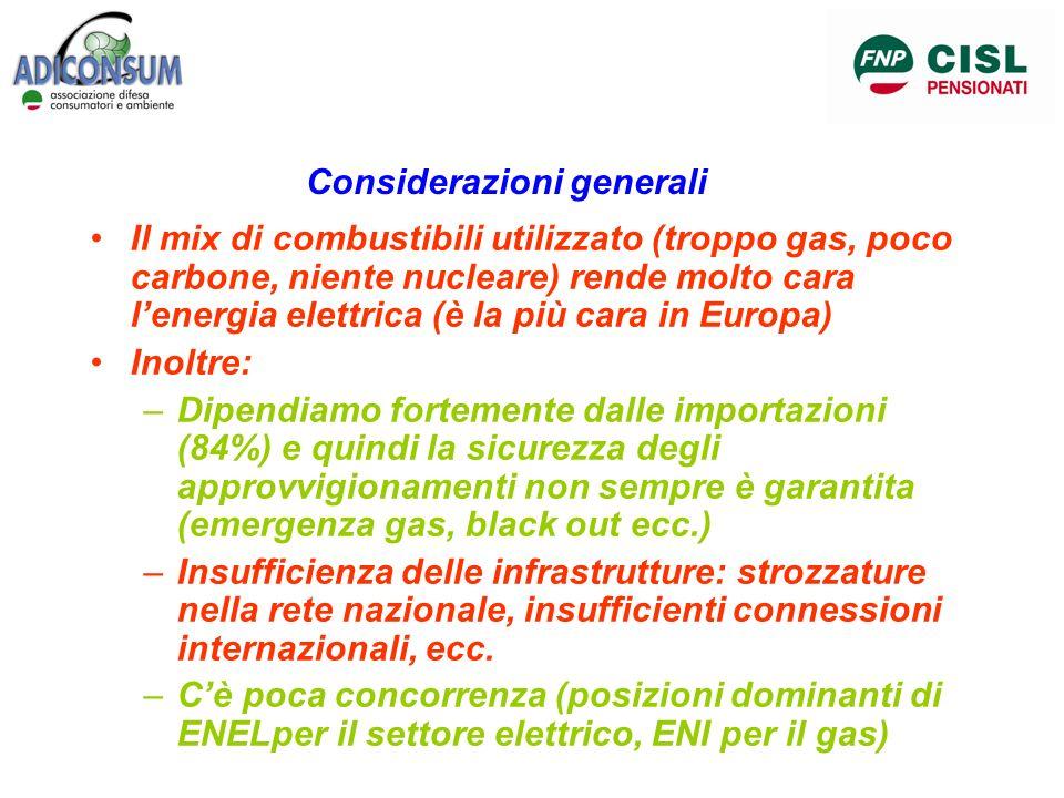 Considerazioni generali Il mix di combustibili utilizzato (troppo gas, poco carbone, niente nucleare) rende molto cara lenergia elettrica (è la più ca