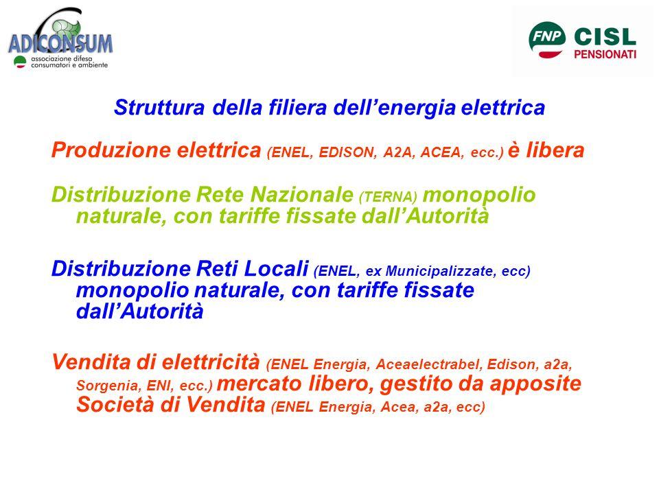 Struttura della filiera dellenergia elettrica Produzione elettrica (ENEL, EDISON, A2A, ACEA, ecc.) è libera Distribuzione Rete Nazionale (TERNA) monop