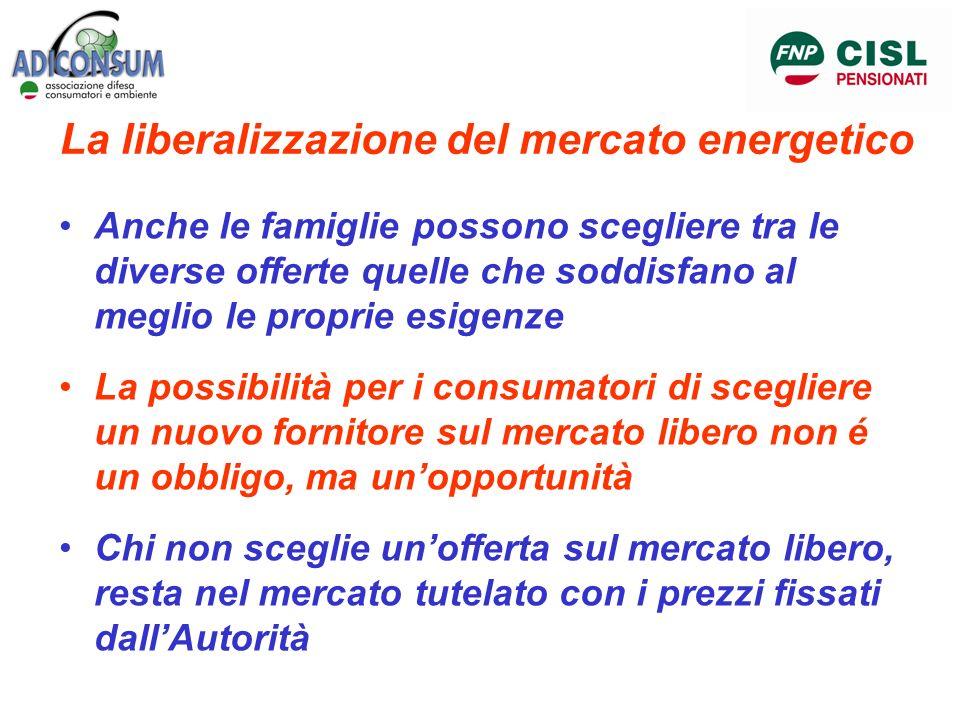 La liberalizzazione del mercato energetico Anche le famiglie possono scegliere tra le diverse offerte quelle che soddisfano al meglio le proprie esige