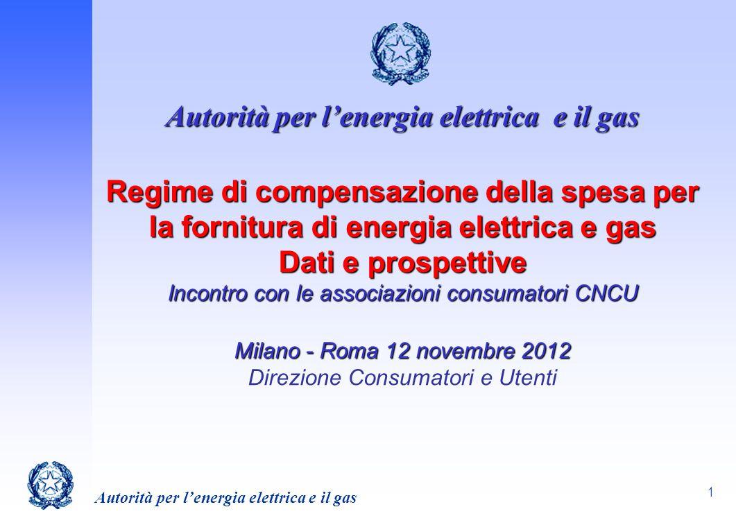 1 Autorità per lenergia elettrica e il gas Regime di compensazione della spesa per la fornitura di energia elettrica e gas Dati e prospettive Incontro