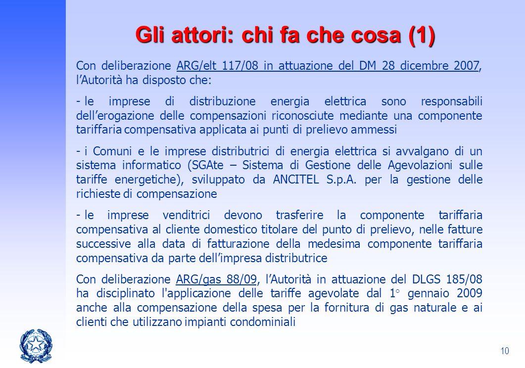 10 Gli attori: chi fa che cosa (1) Con deliberazione ARG/elt 117/08 in attuazione del DM 28 dicembre 2007, lAutorità ha disposto che: - le imprese di