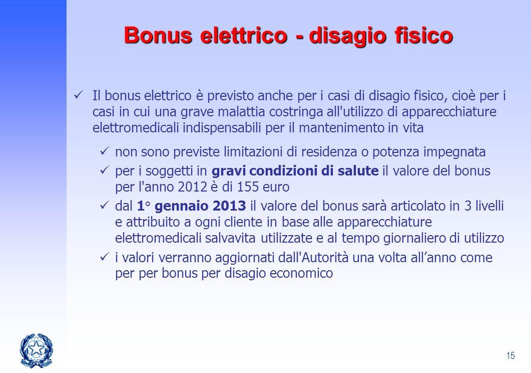 15 Il bonus elettrico è previsto anche per i casi di disagio fisico, cioè per i casi in cui una grave malattia costringa all'utilizzo di apparecchiatu