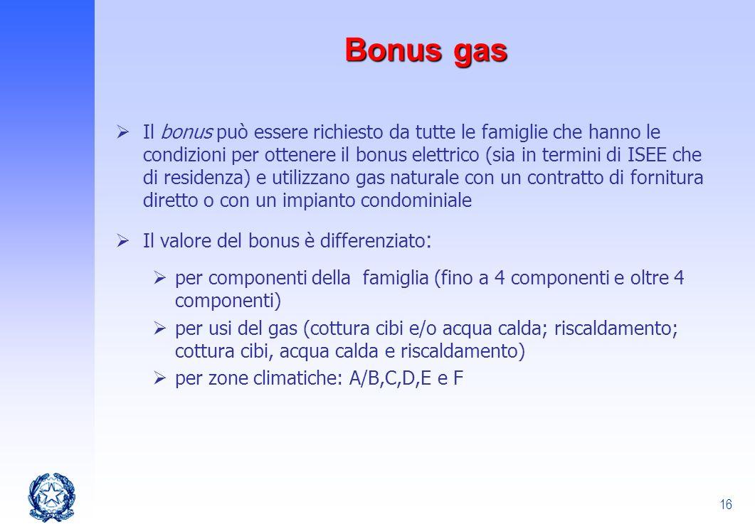 16 Il bonus può essere richiesto da tutte le famiglie che hanno le condizioni per ottenere il bonus elettrico (sia in termini di ISEE che di residenza