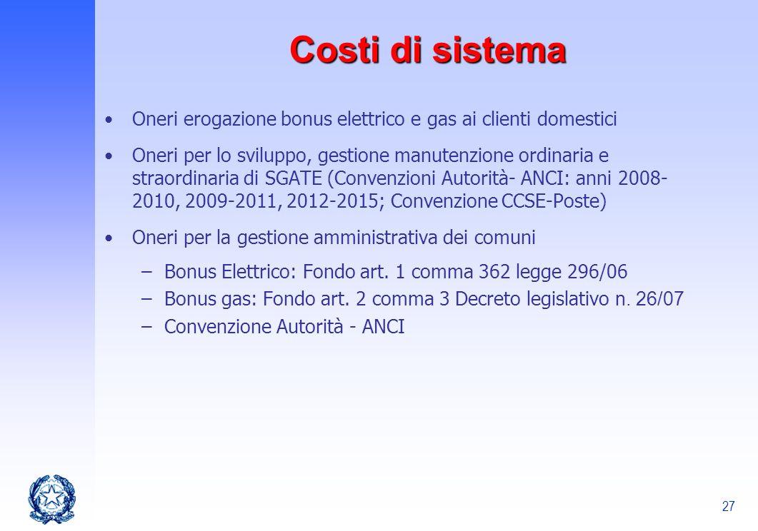 27 Costi di sistema Oneri erogazione bonus elettrico e gas ai clienti domestici Oneri per lo sviluppo, gestione manutenzione ordinaria e straordinaria