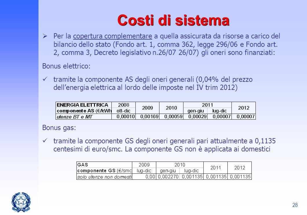 28 Costi di sistema Per la copertura complementare a quella assicurata da risorse a carico del bilancio dello stato (Fondo art. 1, comma 362, legge 29