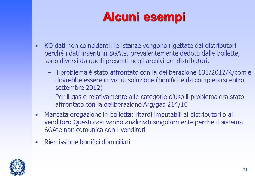 31 Alcuni esempi KO dati non coincidenti: le istanze vengono rigettate dai distributori perché i dati inseriti in SGAte, prevalentemente dedotti dalle
