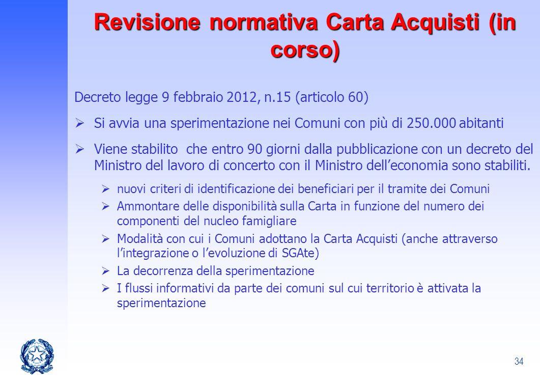 34 Revisione normativa Carta Acquisti (in corso) Decreto legge 9 febbraio 2012, n.15 (articolo 60) Si avvia una sperimentazione nei Comuni con più di