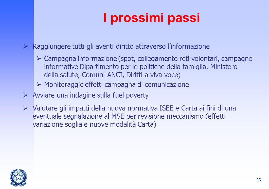 35 I prossimi passi Raggiungere tutti gli aventi diritto attraverso linformazione Campagna informazione (spot, collegamento reti volontari, campagne i