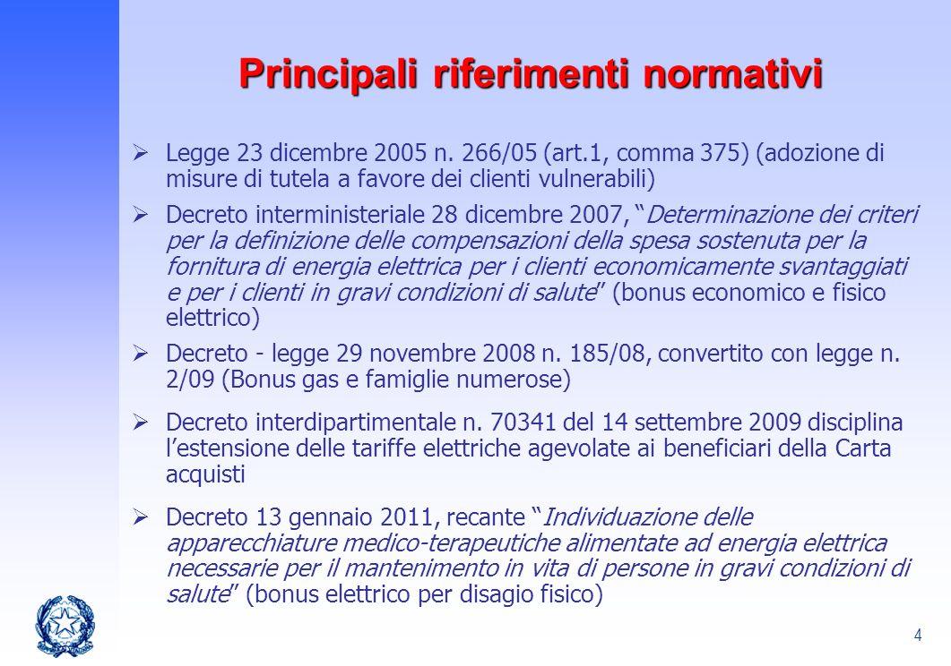 4 Principali riferimenti normativi Legge 23 dicembre 2005 n. 266/05 (art.1, comma 375) (adozione di misure di tutela a favore dei clienti vulnerabili)