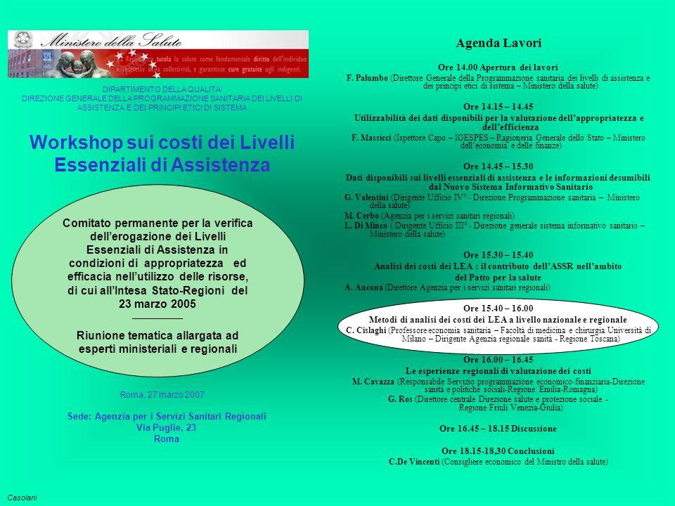 Tasso mensile di visite specialistiche ambulatoriali Percentuale visite ambulatoriali pagate di tasca propria Tutti i costo dei LEA o solo quelli a carico del SSN.