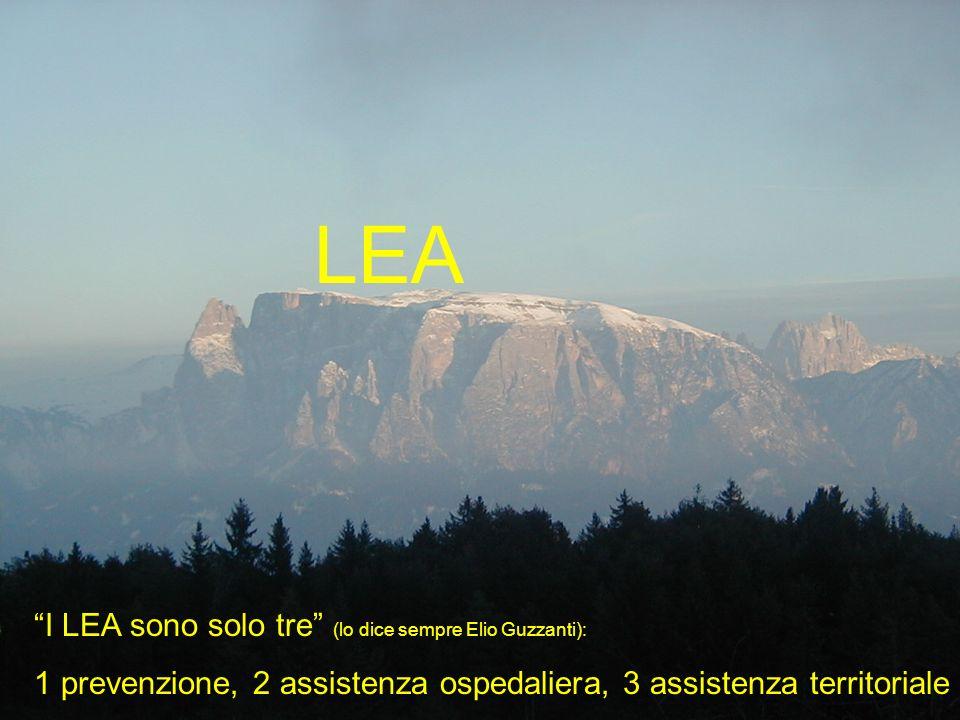 I LEA sono solo tre (lo dice sempre Elio Guzzanti): 1 prevenzione, 2 assistenza ospedaliera, 3 assistenza territoriale