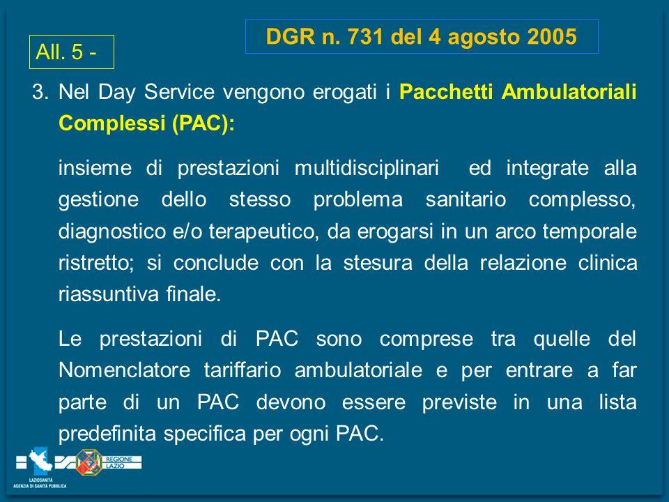 DGR n. 731 del 4 agosto 2005 3.Nel Day Service vengono erogati i Pacchetti Ambulatoriali Complessi (PAC): insieme di prestazioni multidisciplinari ed