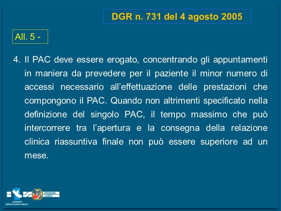 All. 5 - DGR n. 731 del 4 agosto 2005 4.Il PAC deve essere erogato, concentrando gli appuntamenti in maniera da prevedere per il paziente il minor num