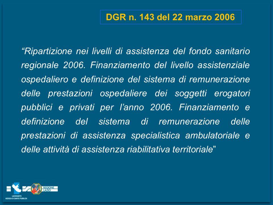 DGR n. 143 del 22 marzo 2006 Ripartizione nei livelli di assistenza del fondo sanitario regionale 2006. Finanziamento del livello assistenziale ospeda