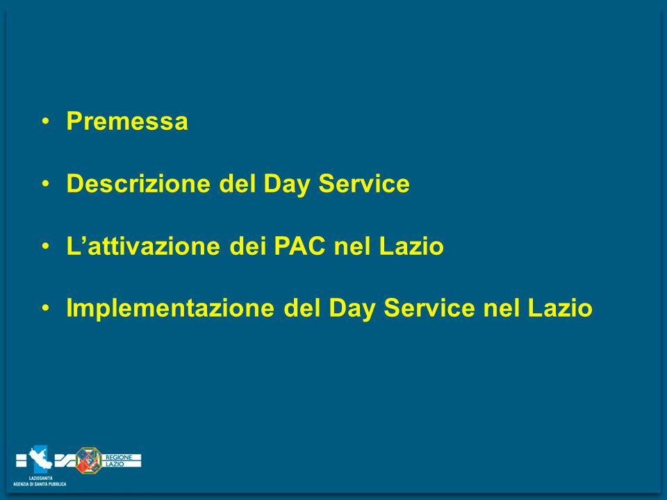 Premessa Descrizione del Day Service Lattivazione dei PAC nel Lazio Implementazione del Day Service nel Lazio