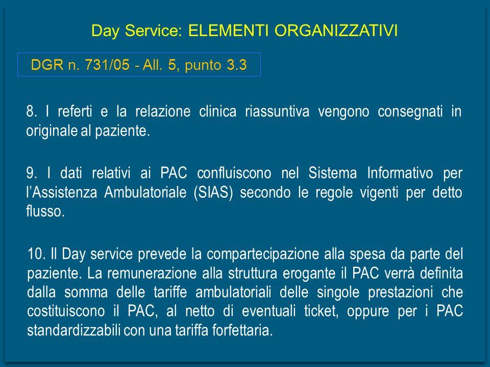 Day Service: ELEMENTI ORGANIZZATIVI 8. I referti e la relazione clinica riassuntiva vengono consegnati in originale al paziente. DGR n. 731/05 - All.
