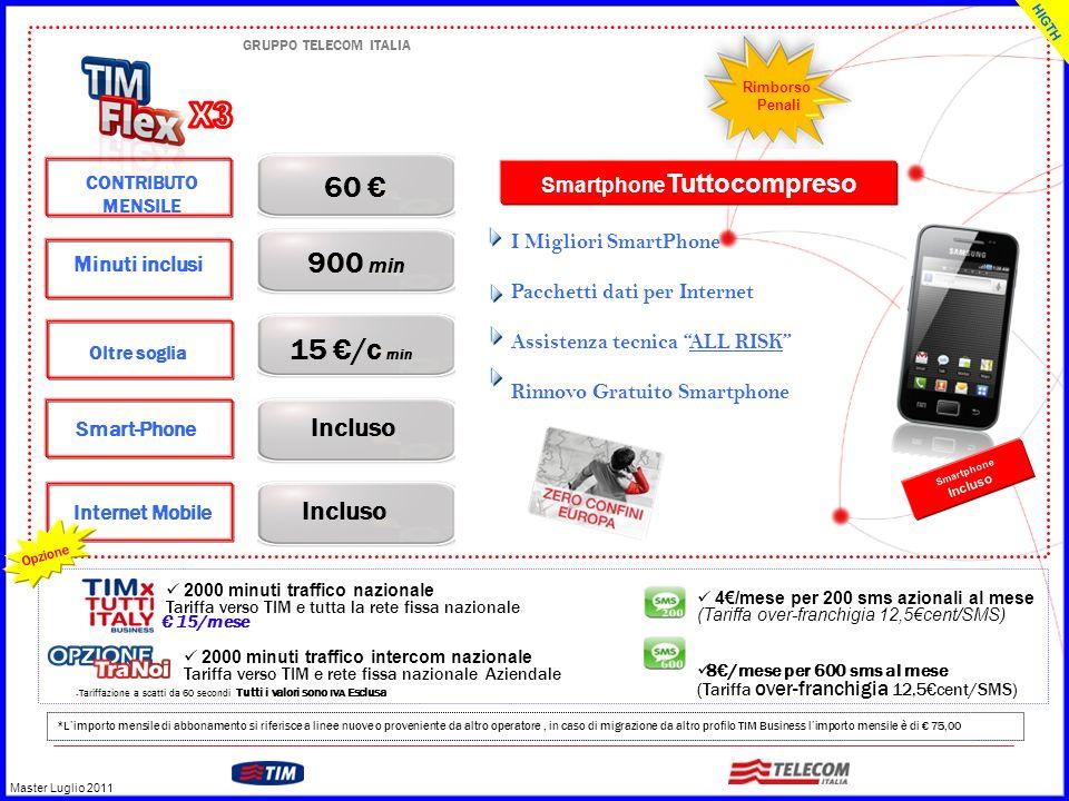 GRUPPO TELECOM ITALIA CONTRIBUTO MENSILE 60 Incluso Minuti inclusi 900 min Smart-Phone Oltre soglia 15 /c min Incluso Internet Mobile I Migliori Smart