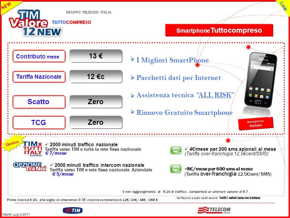 GRUPPO TELECOM ITALIA – Tariffazione a scatti da 60 secondi Tutti i valori sono IVA Esclusa Prima ricarica 24, alla soglia di rimanenza di 5, ricarica