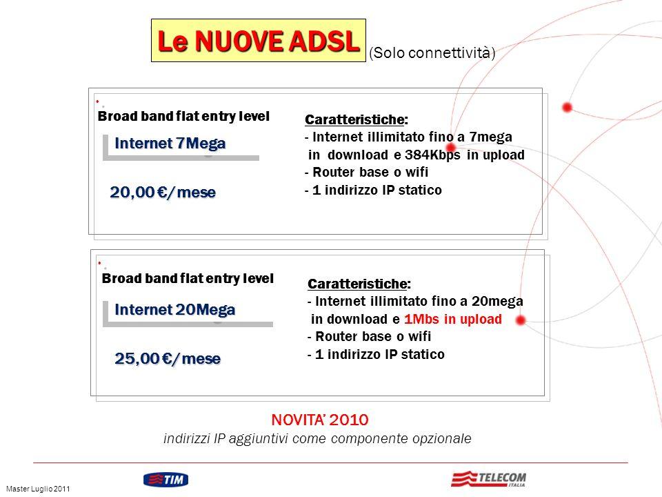 GRUPPO TELECOM ITALIA Le NUOVE ADSL Broad band flat entry level Internet 7Mega 20,00 /mese Caratteristiche: - Internet illimitato fino a 7mega in down