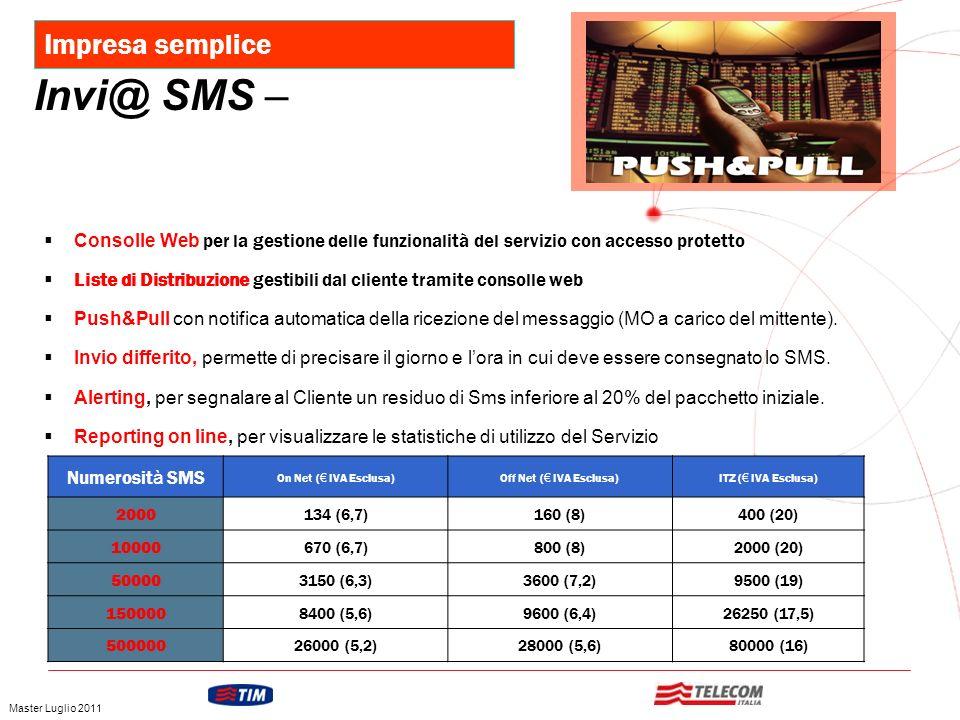 GRUPPO TELECOM ITALIA Numerosit à SMS On Net ( IVA Esclusa)Off Net ( IVA Esclusa)ITZ ( IVA Esclusa) 2000134 (6,7)160 (8)400 (20) 10000670 (6,7)800 (8)