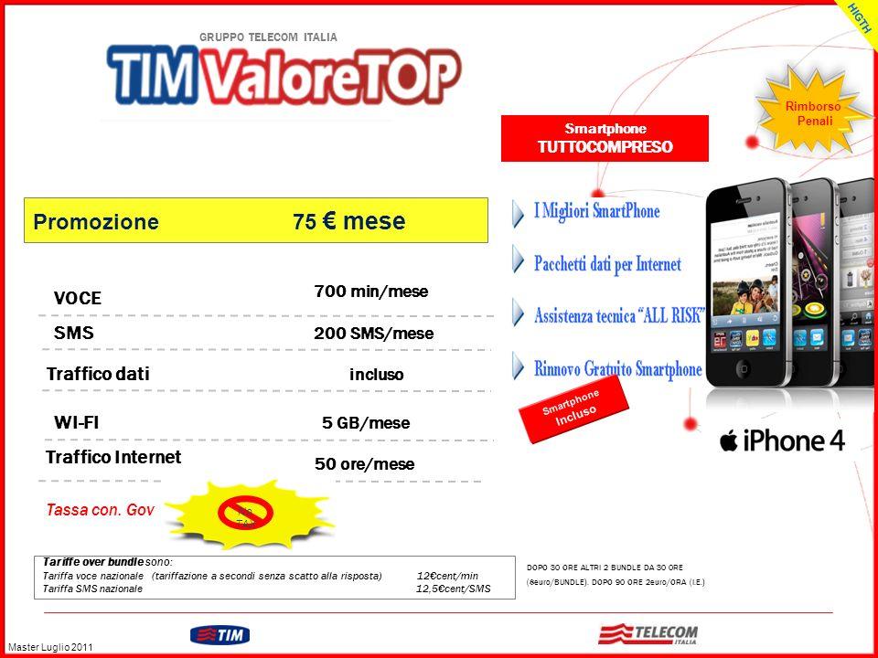 GRUPPO TELECOM ITALIA Tariffe over bundle sono: Tariffa voce nazionale (tariffazione a secondi senza scatto alla risposta) 12cent/min Tariffa SMS nazi