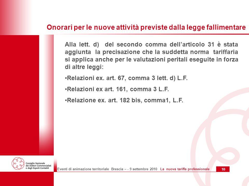 10 Eventi di animazione territoriale Brescia – - 9 settembre 2010 La nuova tariffa professionale Alla lett.