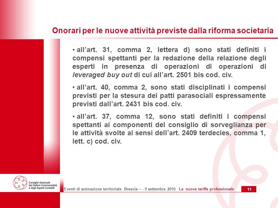 11 Eventi di animazione territoriale Brescia – - 9 settembre 2010 La nuova tariffa professionale allart.