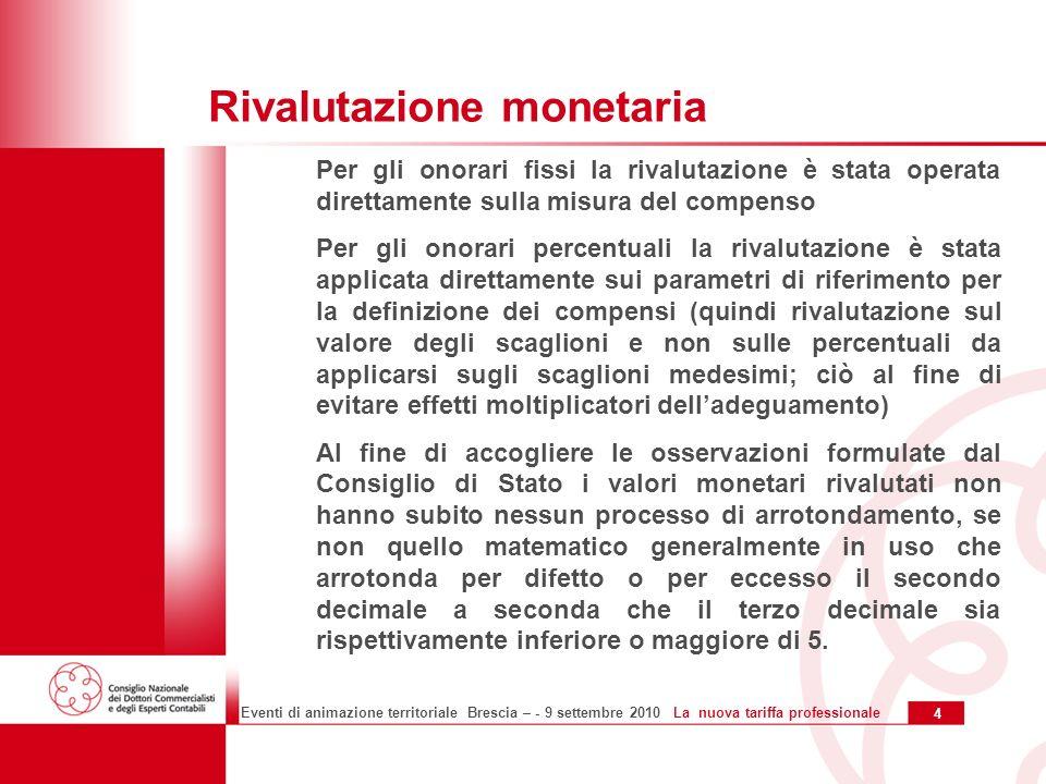 15 Eventi di animazione territoriale Brescia – - 9 settembre 2010 La nuova tariffa professionale Altre novità: le disposizioni transitorie Lart.