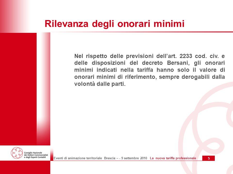 5 Eventi di animazione territoriale Brescia – - 9 settembre 2010 La nuova tariffa professionale Rilevanza degli onorari minimi Nel rispetto delle previsioni dellart.