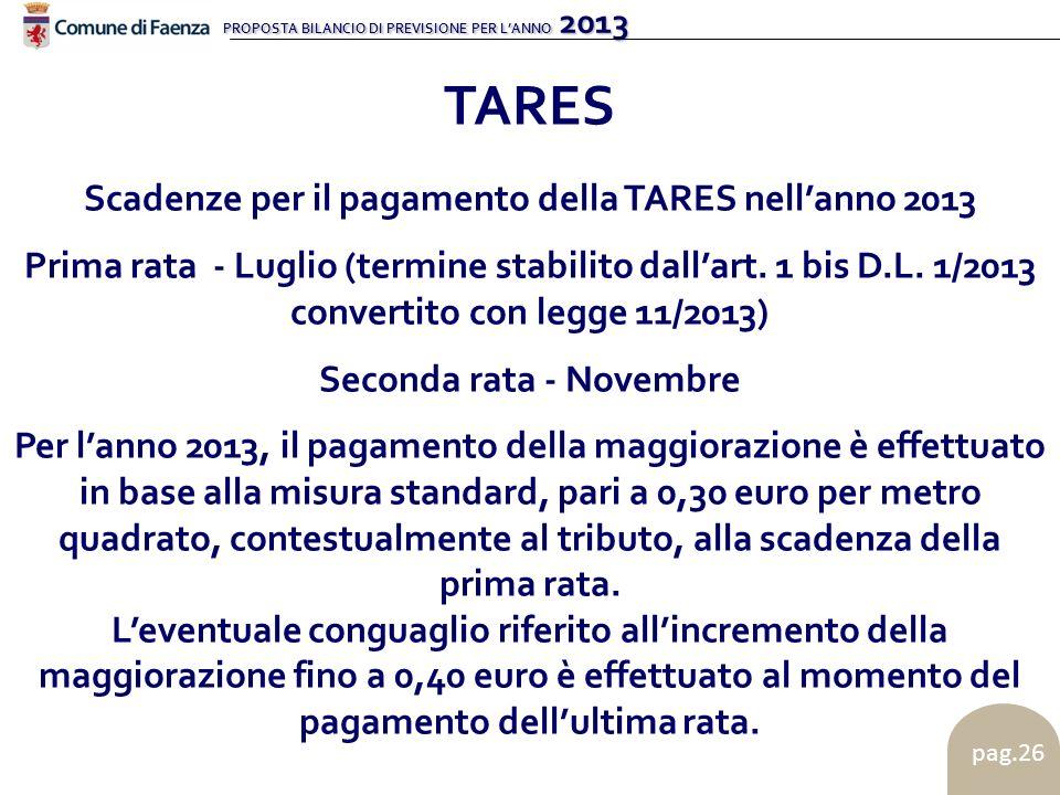 PROPOSTA BILANCIO DI PREVISIONE PER LANNO 2013 pag.26 TARES Scadenze per il pagamento della TARES nellanno 2013 Prima rata - Luglio (termine stabilito dallart.