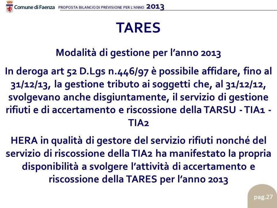 PROPOSTA BILANCIO DI PREVISIONE PER LANNO 2013 pag.27 TARES Modalità di gestione per lanno 2013 In deroga art 52 D.Lgs n.446/97 è possibile affidare, fino al 31/12/13, la gestione tributo ai soggetti che, al 31/12/12, svolgevano anche disgiuntamente, il servizio di gestione rifiuti e di accertamento e riscossione della TARSU - TIA1 - TIA2 HERA in qualità di gestore del servizio rifiuti nonché del servizio di riscossione della TIA2 ha manifestato la propria disponibilità a svolgere lattività di accertamento e riscossione della TARES per lanno 2013