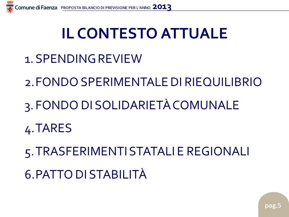 PROPOSTA BILANCIO DI PREVISIONE PER LANNO 2013 pag.5 1.SPENDING REVIEW 2.FONDO SPERIMENTALE DI RIEQUILIBRIO 3.FONDO DI SOLIDARIETÀ COMUNALE 4.TARES 5.TRASFERIMENTI STATALI E REGIONALI 6.PATTO DI STABILITÀ IL CONTESTO ATTUALE